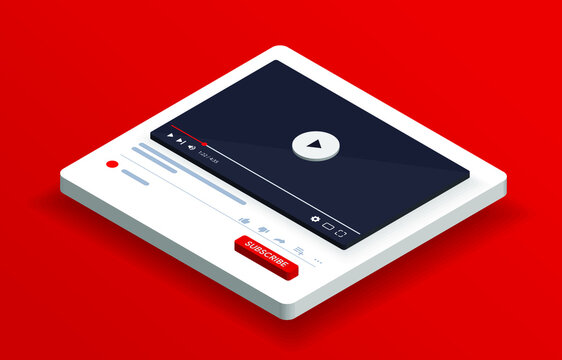 Isometric youtube video player. PC social media interface. Play video online 3D mock up. Subscribe button. Tube window with navigation icon. Vector illustration.