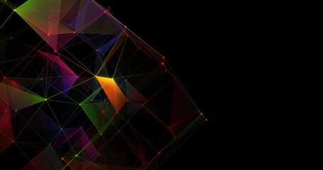 Multicolored geometrical shapes against black background