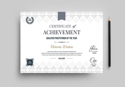 Classic Certificate with Grey Border in A4 Landscape Layout