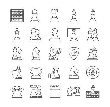 Large set of chess icons with pieces and moves