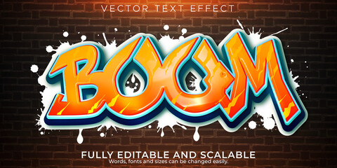 Graffiti text effect, editable spray and street text style