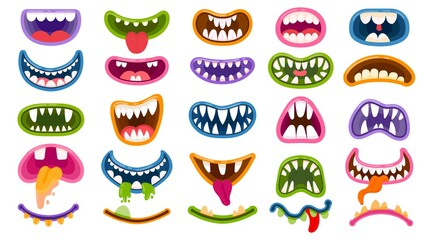 Obraz Cartoon monster mouths. Scary and funny mouth with teeth and tongue. Halloween masks, monsters joker laugh and creepy clown smile vector set - fototapety do salonu