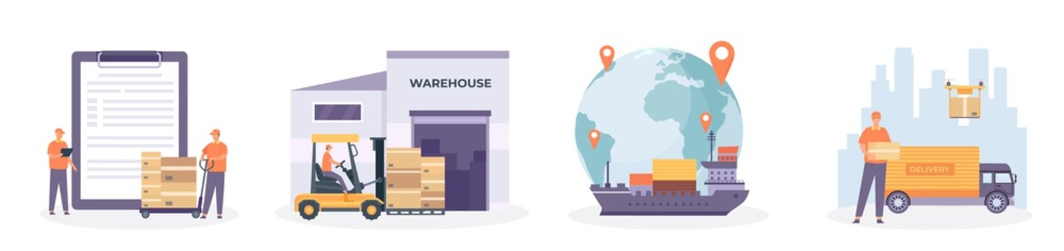 Global logistic chain. International supply, distribution, warehouse, transportation and delivery network. Import and export vector concept