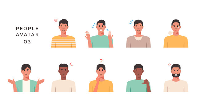 People portraits of young men with negative emotion, male faces avatars isolated icons set, vector design flat style illustration