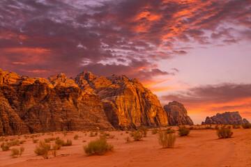 Wadi Rum desert landscape at sunset, Jordan