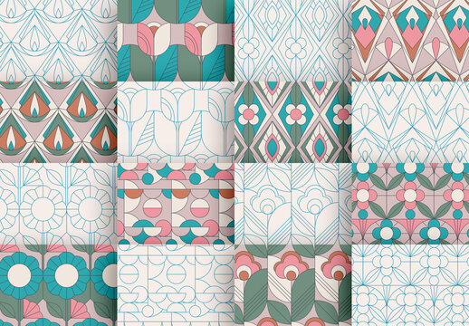Seamless Pattern Set with Retro Flowers and Geometric Elements