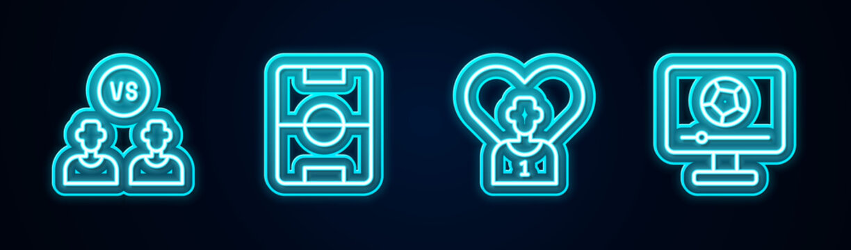 Set line Football or soccer player, field, and match on TV. Glowing neon icon. Vector