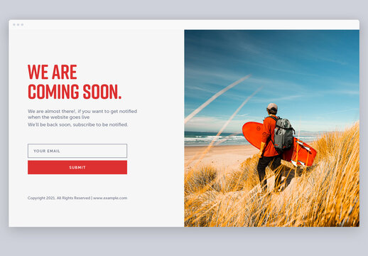 Coming Soon Page Layout with Red Accents