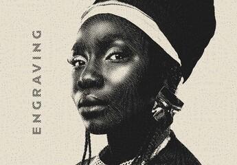 Obraz Engraving Lines Photo Effect Mockup - fototapety do salonu