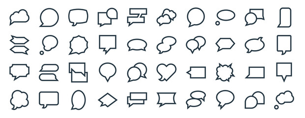 Fototapeta linear pack of speech bubbles line icons. linear vector icons set such as speech bubble, speech bubble, bubble, vector illustration. obraz