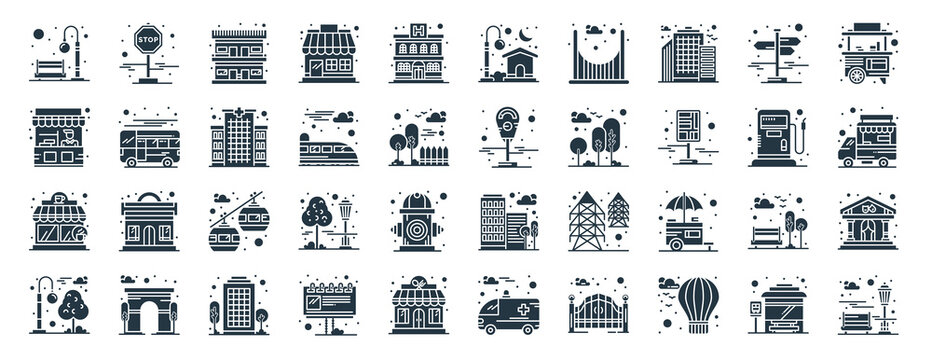 linear pack of city elements line icons. linear vector icons set such as stop, house, meter, coffee shop, street light, park. vector illustration.