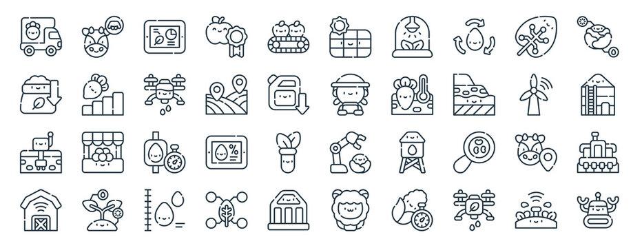 linear pack of smart farm line icons. linear vector icons set such as milking, solar panel, farmer, sensor, smart farm, robot. vector illustration.