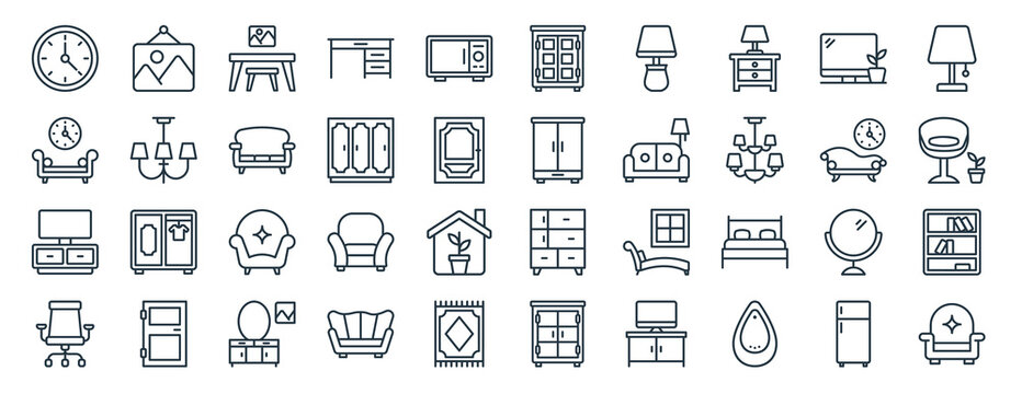linear pack of interior line icons. linear vector icons set such as painting, cupboard, cupboard, lcd, chair, armchair. vector illustration.