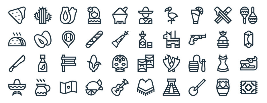 linear pack of mexico line icons. linear vector icons set such as cactus, mexican man, tequila, machete, mexican hat, rug. vector illustration.