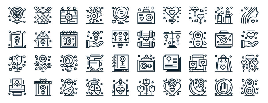 linear pack of women day line icons. linear vector icons set such as ribbon, camera, strength, rose, woman suffrage, womens day. vector illustration.