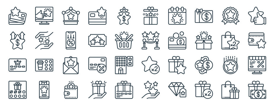 linear pack of customer loyalty line icons. linear vector icons set such as desktop computer, gift box, vip, card, reward, gift box. vector illustration.