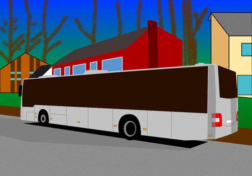 Ein Linienbus vor Wohnhäusern