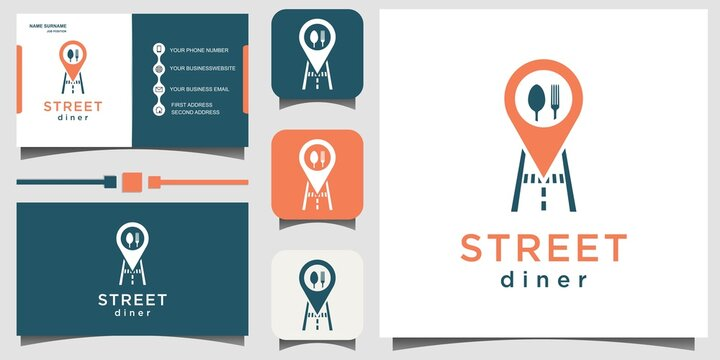 share location restaurant logo design vector with business card