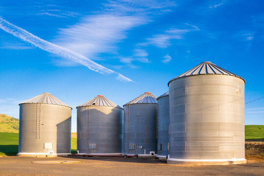 View of grain silos seen from farm in the Palouse Washington state