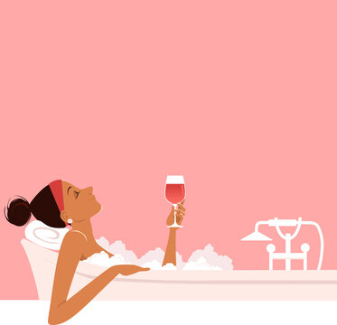 Woman taking a relaxing bubble bath and drinking red wine, side view, copy space above, EPS 8 vector illustration