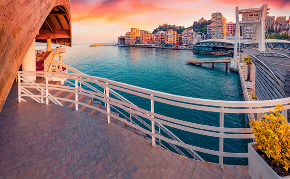 Spectacular sunrise in Durres, port city on the Adriatic Sea in western Albania, Europe. Panoramic Adriatic seascape. Stunning spring scene of Albania. Traveling concept background.