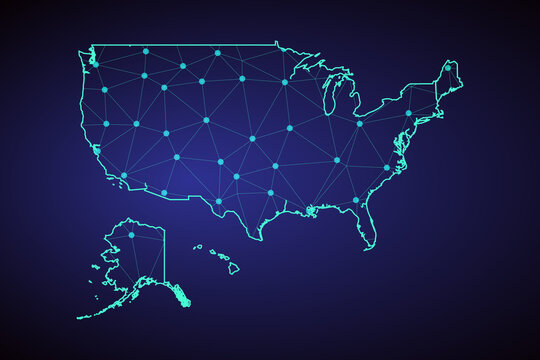 Map of United States. Wire frame 3D mesh polygonal network line, design sphere, dot and structure. communications map of United States. Vector Illustration EPS10.