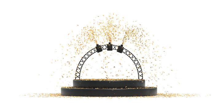 podium avec cotillons pour présentation de produit - rendu 3D