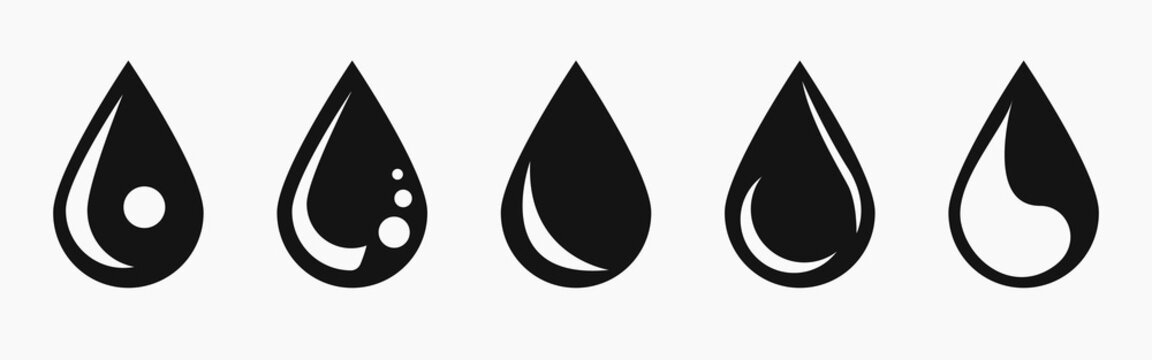 Vector black water drop icon set. Flat droplet logo shapes collection