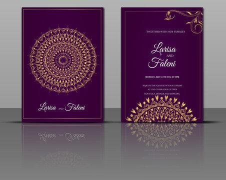 luxury wedding mandala gold invitation