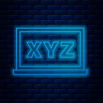 Glowing neon line XYZ Coordinate system on chalkboard icon isolated on brick wall background. XYZ axis for graph statistics display. Vector