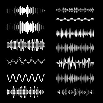 Sound Waves Set on Black Backdrop. Playing Song Visualization, Radiofrequency Lines, and Sounds Amplitudes. Can be Used for Music Clubs Projects, Audio Logo or Musical Pulse Background