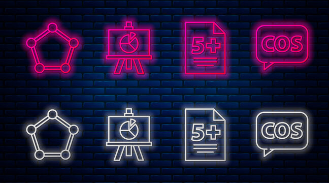 Set line XYZ Coordinate system, Calculator, Geometric figure Sphere and Tablet with calculator. Glowing neon icon on brick wall. Vector
