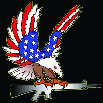 american flag eagle ar 15 m 16 tattoo wo art jersey long Design vector illustration