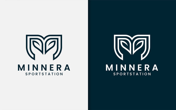 Abstract Initial Letter M Logo Design with Sporty Concept and Leaf Combination.