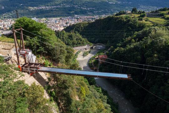 Sondrio in Valtellina, cable-stayed bridge construction in Cassandre, aerial view