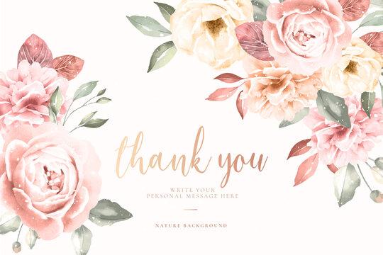 thank you card with vintage floral frame vector design illustration