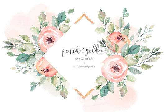 peach golden beautiful floral frame vector design illustration