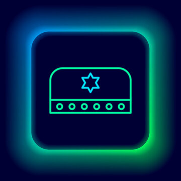 Glowing neon line Jewish kippah with star of david icon isolated on black background. Jewish yarmulke hat. Colorful outline concept. Vector