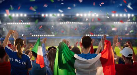 Obraz Italy football team supporter on stadium. - fototapety do salonu