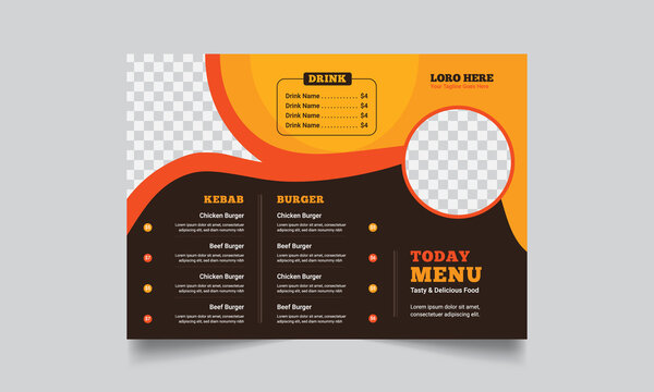 restaurant Food menu Brochure design templates modern with colorful  A4 size Tri-fold Brochure. Vector illustrations for food and drink marketing material Cover design.