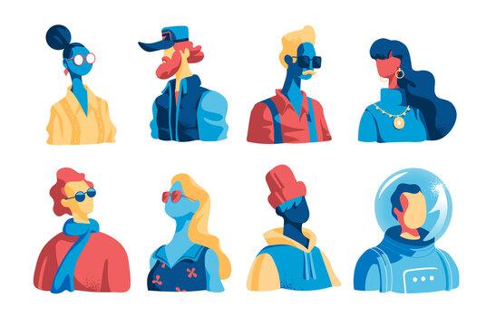 Collezione di personaggi maschili e femminili vettoriali. Avatar di giovani uomini e donne isolati su sfondo bianco