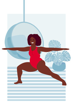 black woman in summer bikini swimsuit stands in Virabhadrasana pose. yoga asana, sports and fitness for weight loss and beauty. health and body positive. mental health and self acceptance.