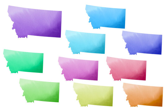 Political divisions of the US. Watercolor patriotic clip art. State Montana