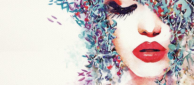 Fashion female background. Watercolor