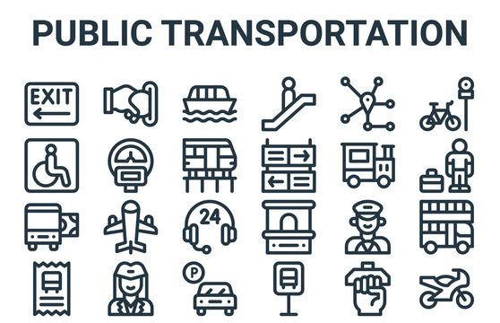 linear pack of public transportation line icons. simple web vector icons set such as motorbike, bus ticket, train, route, ship. vector illustration.
