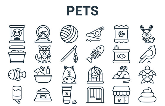 linear pack of pets line icons. linear vector icons set such as poop, water trough, canned food, dog biscuit, cat toy. vector illustration.