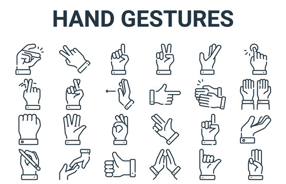 linear pack of hand gestures line icons. linear vector icons set such as three, writing, clap, reach, one. vector illustration.