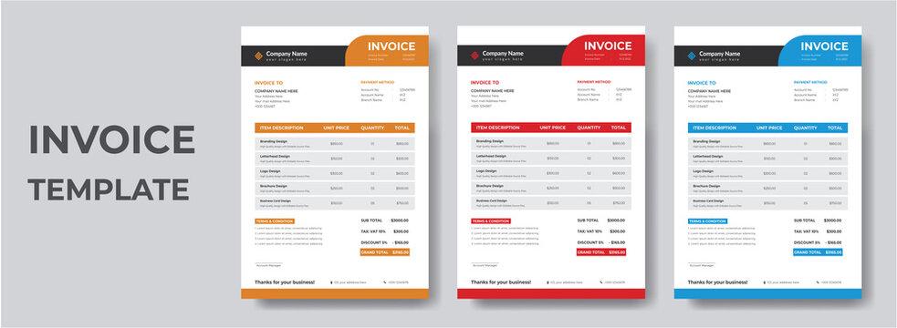 Minimal Corporate Business Invoice design template vector illustration bill form price invoice. Creative invoice template vector. business stationery design payment agreement design template