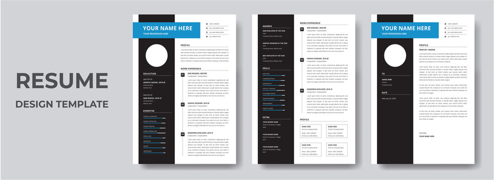 Clean Modern Resume and Cover Letter Layout Vector Template for Business Job Applications, Minimalist resume cv template,   Resume design template, cv design, multipurpose resume design