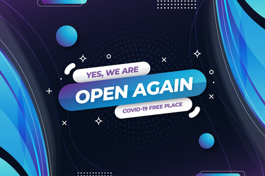 we are open again banner template vector design illustration